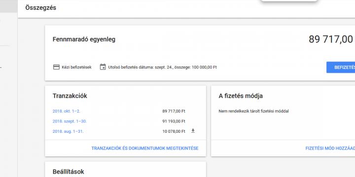 Google Ads: Fizetési beállítások, számlázás