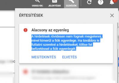 Google Ads: Alacsony egyenleg