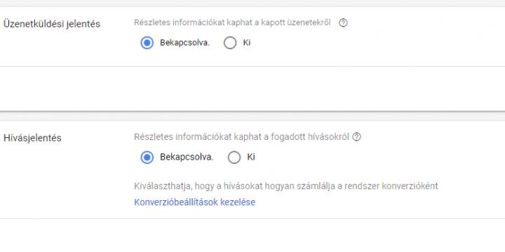 Google Ads: Hívásjelentés , üzenetjelentés alkalmazása