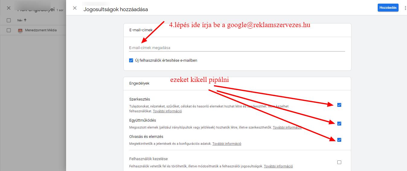 Google Analytics új felhasználó hozzáadása
